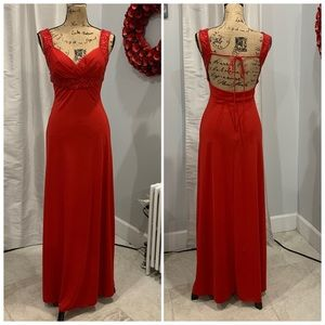 Dressbarn Collection red floor length gown size 4